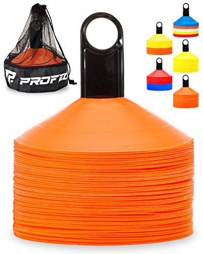 Pro Disc Cones (Set of 50) - Agility Soccer Cones with Carry Bag and Holder
