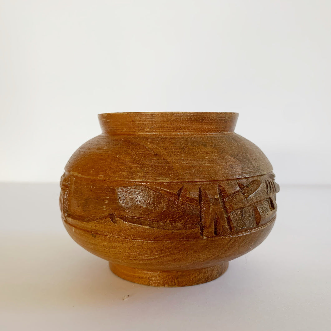 Vintage wood carved mini bowl