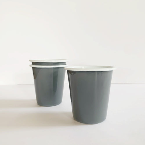 Grey and White Enamelware Tumbler