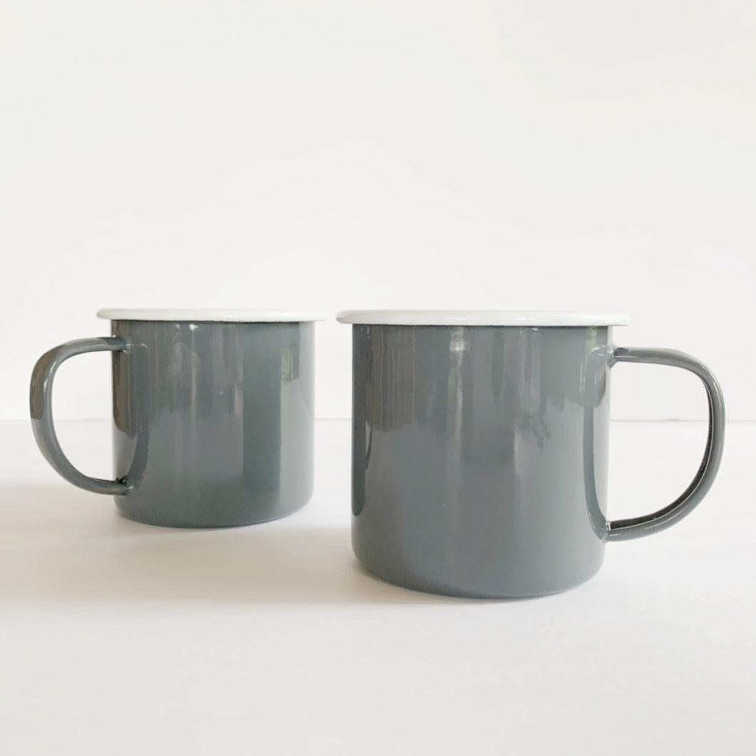 Grey and White Enamelware Mug