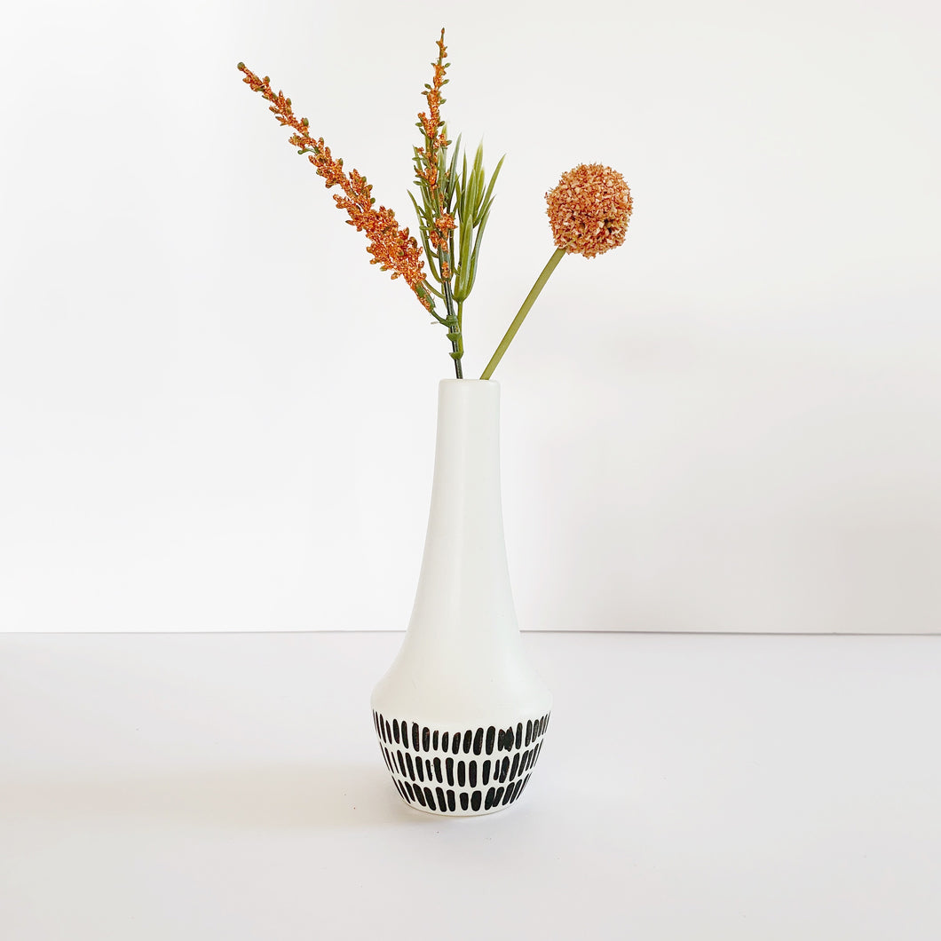 Black + White Ceramic Bud Vase
