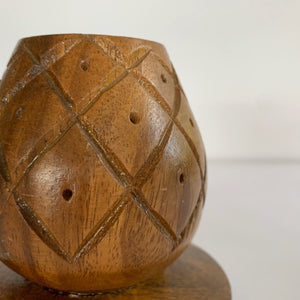 Vintage Wood Carved Candle Holder