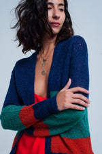 Blue Green and Red Striped Cardigan in Mohair