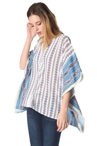 Blue Oversized Poncho in Tribe Print