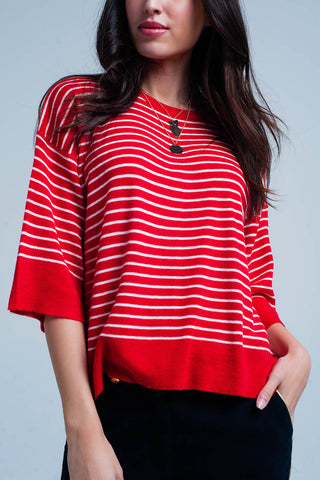 Red Striped Oversized Sweater