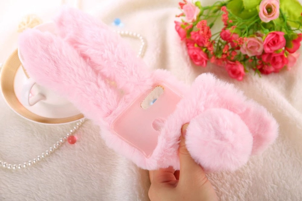 "Case For Xiaomi Mi A1 Cover Luxury Rabbit Rhinestone Fluffy Fur Cute Soft Phone Case For Xiaomi Mi 5X 5.5"" Case Funda KimTHmall"