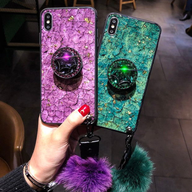 Diamond Stand Fox Furry Pompom For Huawei P20 Pro Plus Flake Strap Cover For Huawei Nova 2s 3 3i 3E Mate 20 Pro Honor 8X 10