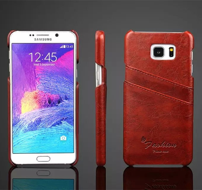 Fashion Case For Samsung Note 5 Business Style Leather Back Case For Samsung Galaxy Note 5 N9200 Holster With Card Holder