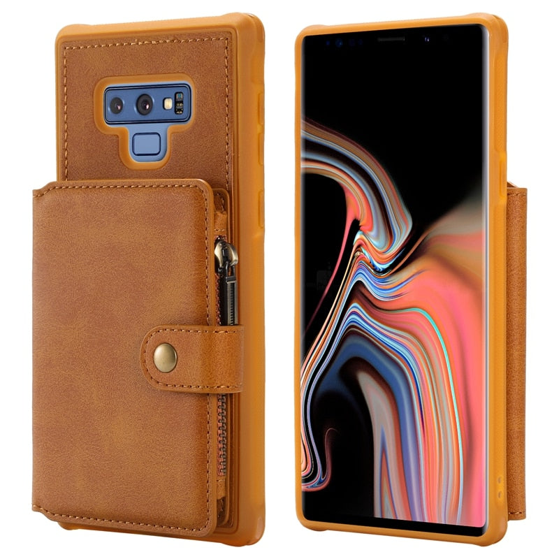 Flip Back Leather Case For Samsung Galaxy S8 S8 Plus S9 S9 Plus Note 8 Note 9 PU Leather Stand Holder Zipper Cover Shockproof