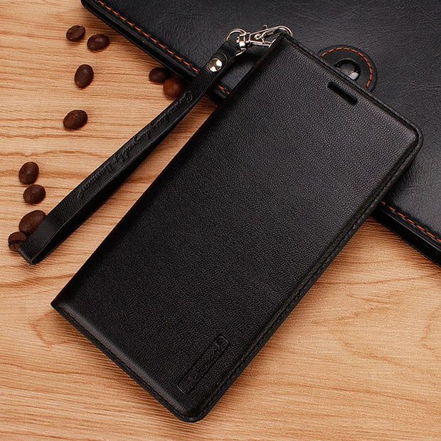 Hanman Flip Leather Case For Samsung Galaxy S10 Plus S10 Lite Business Hang Rope Series Genuine Wallet Card Slot Case Cover