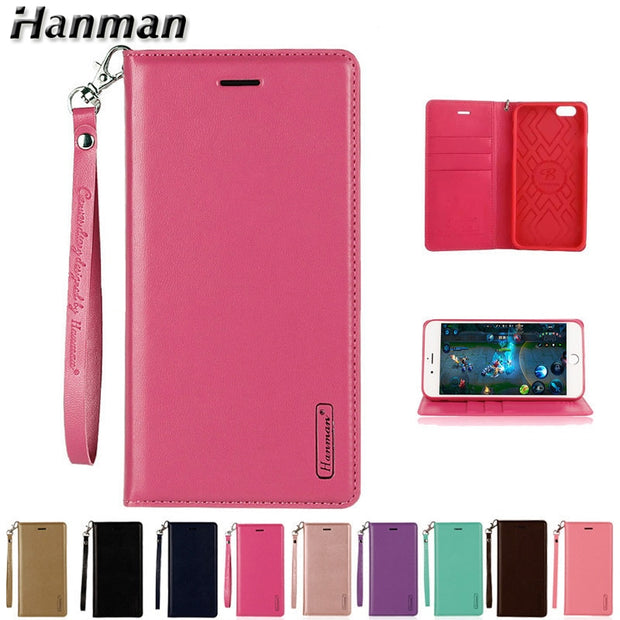 Hanman Leather Flip Case For Apple IPhone 5 5s SE 6 6s 7 8 Plus X Cover Business Wallet Card Holster Magnetic Stand Phone Cover