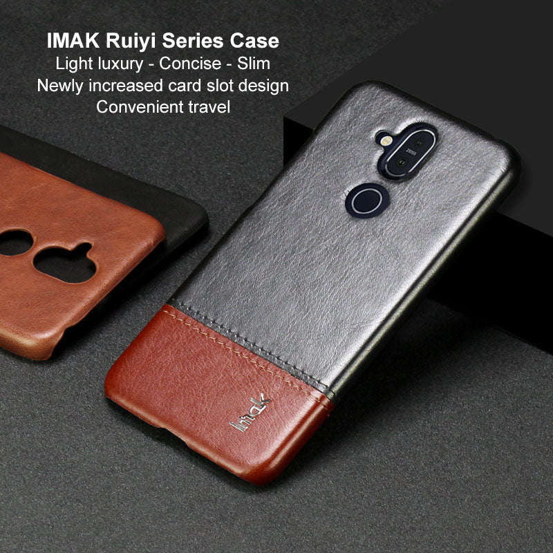 IMAK Ruiyi Series Luxury Skin PU Leather Case For Nokia 8.1 X7 7.1 Plus Hard PC Back Cover For NOKIA 8.1 X7 High Quality Cases