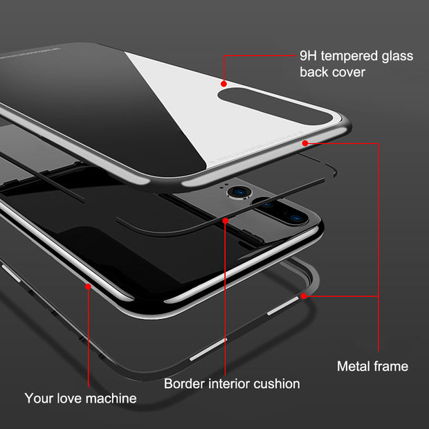 Magnetic Adsorption Flip Case For Huawei P Smart 2019 Clear Tempered Glass Metal Bupmer Back Cover For Honor 10 Lite Phone Case