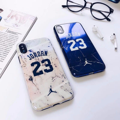 Marble Jordan 23 Case Cover For IPhone 8 7plus 6s High Quality Blue-ray Soft Rubber Cases For Iphone X 8 6 Plus Protective