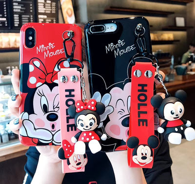 Minnie Mouse Phone Case For Iphone 8 Case For Iphone XR Case For Iphone Xs Max X Xs 6S 6 7 8 Plus Wrist Strap Doll Stent Luxury