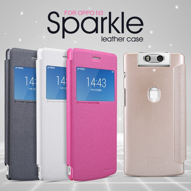 OPPO N3 Case NILLKIN Sparkle Super Thin Flip Cover Luxury Brand Leather Case For OPPO N3 With Retailed Package