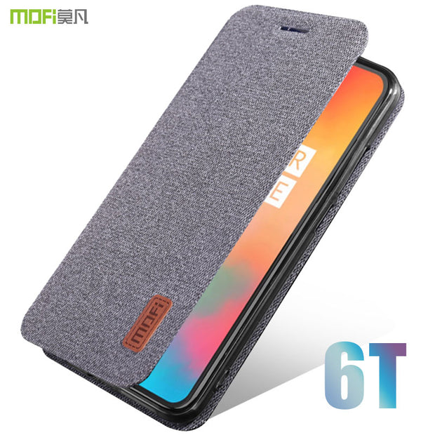 best service 629de e0e63 Oneplus 6t Case Cover MOFI One Plus 6t Fabric Flip Case OP6T Silicone TPU  Full Cover Protective 1+6t Business Frosted Flip Case