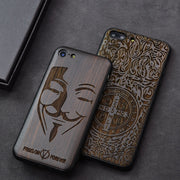 Popular Black Ebony Wood Phone Case For IPhone 7 Carved Skull Flower Wooden IPhone 7 Plus 6 6s 8 Plus Case For IPhone 8 Cover