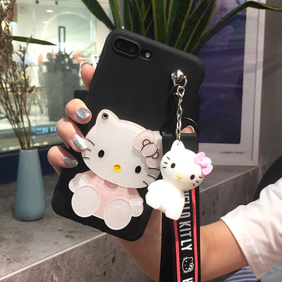 SAM Note 8 Hello Kitty Case , Cartoon Mirror Soft Phone Cases For Samsung Note 2/3/4/5/8 KT Mobile Phone Bag +toy Stander+Strap