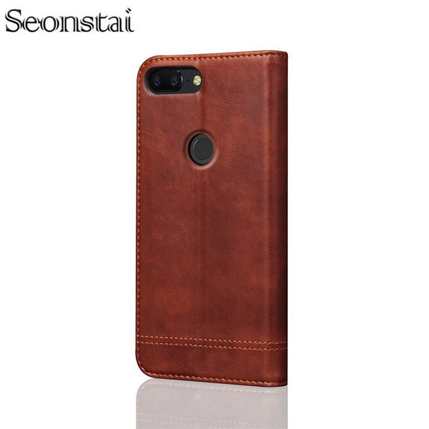 competitive price 60d8e cf5e7 Seonstai Luxury For Oneplus 5 5T Case Wallet PU Leather Flip Cover Stand  Card Cases For One Plus 5 T Cover Vintage Phone Bags