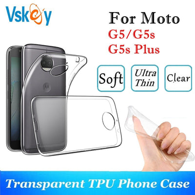VSKEY 10PCS TPU Phone Case For Motorola G5s Plus High Bright Transparent Clear Moto G5 Ultra Thin Silicone Back Cover