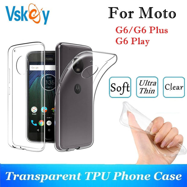 VSKEY 10PCS TPU Phone Case For Motorola G6 Play High Bright Transparent Clear Moto G6 Plus Ultra Thin Silicone Back Cover