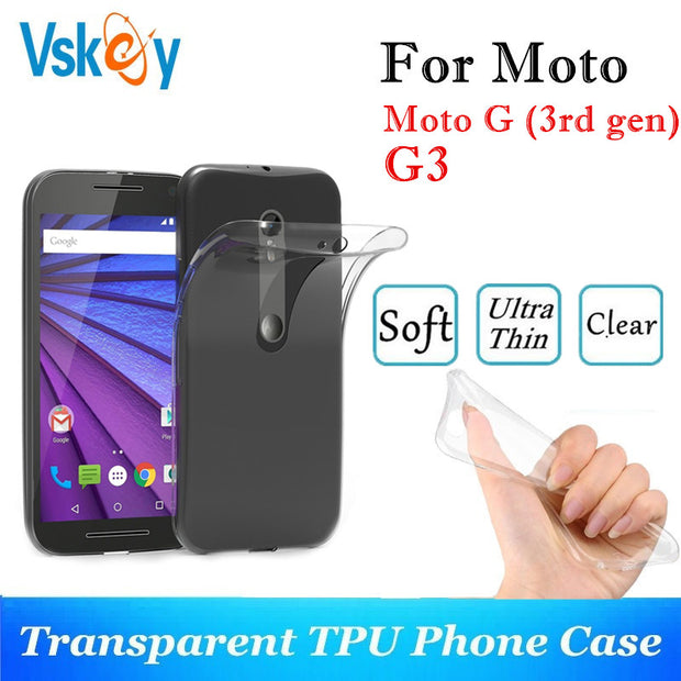 VSKEY 10PCS TPU Phone Case For Motorola Moto G (3rd Gen) High Bright Transparent Clear Moto G3 Ultra Thin Silicone Back Cover
