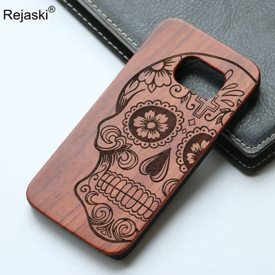 Vintage Bamboo Wood Phone Case For Samsung Galaxy S8 Plus Cover Skull Owl Compass Wooden Samsung Galaxy S8plus Carving Case