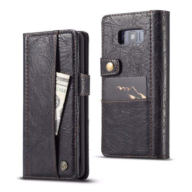 Vintage Leather Flip Wallet Case For Samsung Galaxy Note 9 Note 8 S9 S8 Plus S7 Edge S7 Magnetic Phone Cover Stand W/Card Slots