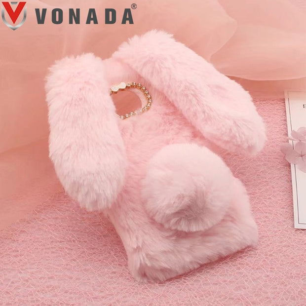 Vonada Plush Case For Motorola Moto E4 Cute Rabbit Ears Fur Cover TPU Diamond Jewelled Soft Mobile Phnoe Back Case Cover