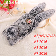 Vonada Plush Case For Samsung Galaxy A3 2016 A310 A5 2016 A7 2016 A8 Cute Rabbit Ears Fur Cover TPU Jewelled Soft Case Cover