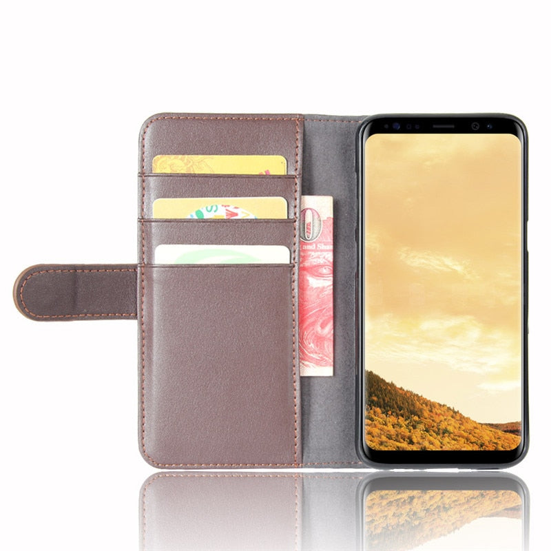 Wallet Flip Case Cover For Samsung Galaxy S8 / S8 Plus / S8 Active Luxury Genuine Leather Pouch Stand Card Holders Inner TPU