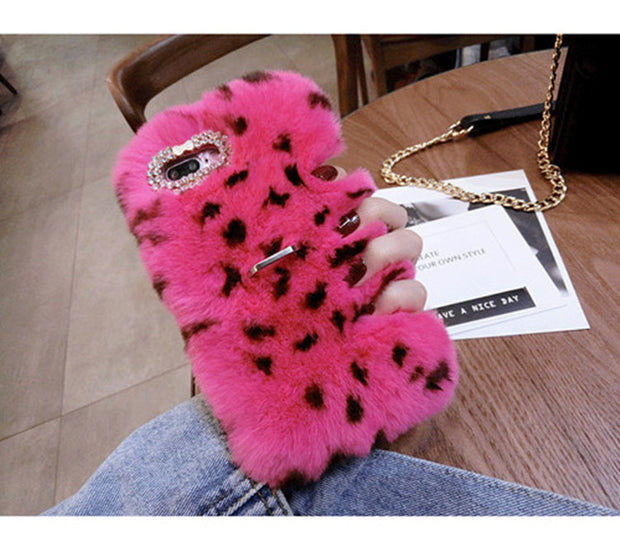 Winter Plush Leopard Dot Rabbit Fur Case For Huawei Honor 7X 10 Lite Nova 2 2S P8 P9 P10 P20 Mate 8 910 With Ring Holder Case