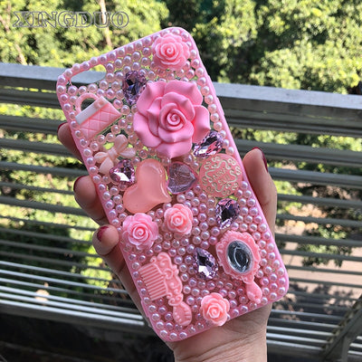 XINGDUO Bling Pink Flower Pearl Diamond Jeweled Cover Case For Samsung Galaxy Note 8 5 4 3 S5/4/3 S8 S7 S6 S8 Plus J3 J5 J7