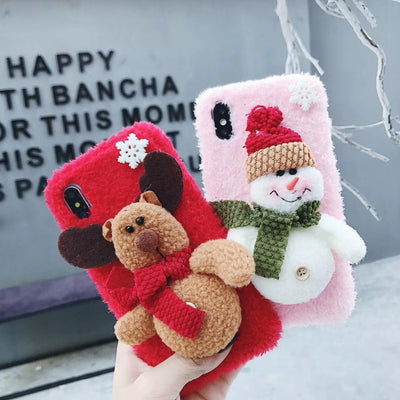 XS MAX Case Soft Felt Warm Phone Cases Cover For IPhone XS MAX XR X 7 8 PLUS 3D Cute Snow Man Christmas Mobile Case Back Cover