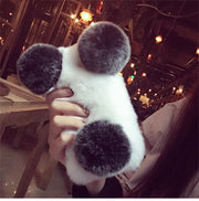 XSMYiss Luxury Cute Cartoon Panda Warm Rabbit Fur Case For Xiaomi MIX2 2S MAX 2 5 5S Plus 5C 5X 6 6X Plus Note3 8 8SE Phone Case