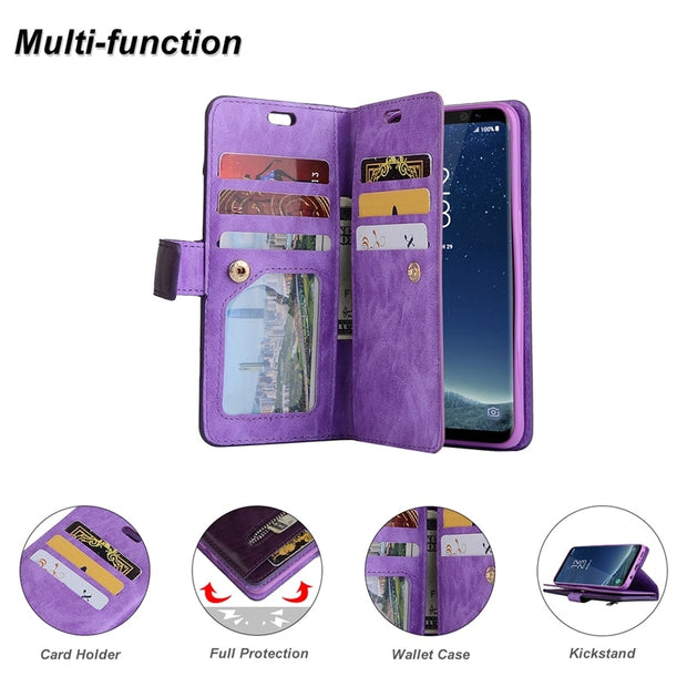 Yokata Flip Leather Case For Samsung Galaxy S8 S9 Plus For Wallet Lanyard Multi-Function Coque For Samsung A5 A7 2017 Note 8