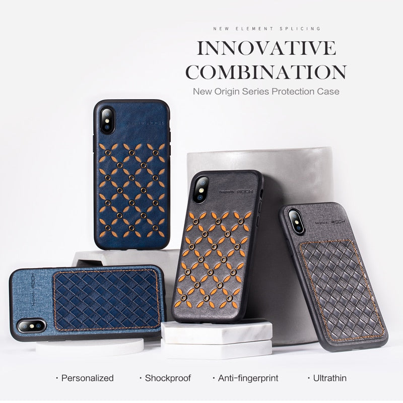 For Apple IPhone X XS XR XS Max Cover Rock Fashion Anti-knock PU Leather+Silicone Bumper Hybrid Coque Cases For IPhone X XS XR