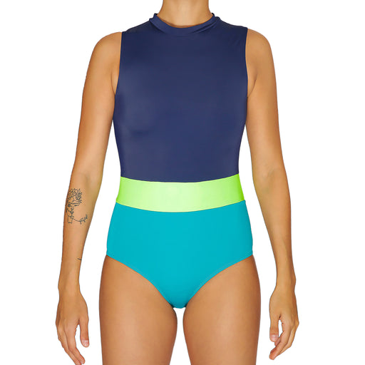 PAVONES One Piece Surf Suit - Navy & Tosca
