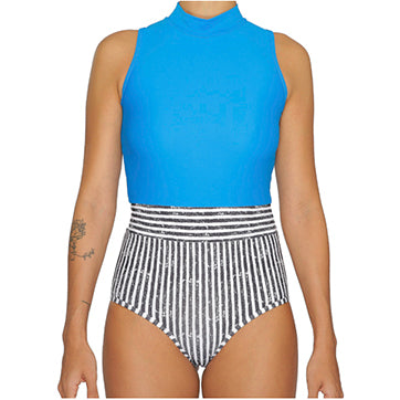 PAVONES One Piece Surf Suit - Stripes & Blue