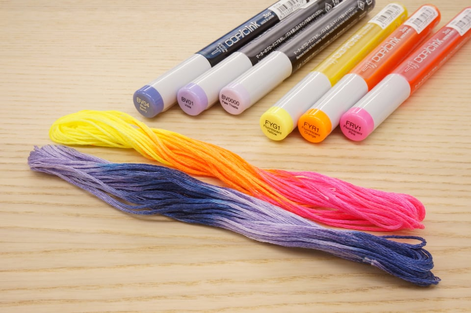 Embroidery thread dying with Copic Ink Fluorescent
