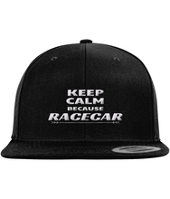 Load image into Gallery viewer, keep calm because racecar snapback - car guy clothing automotive apparel