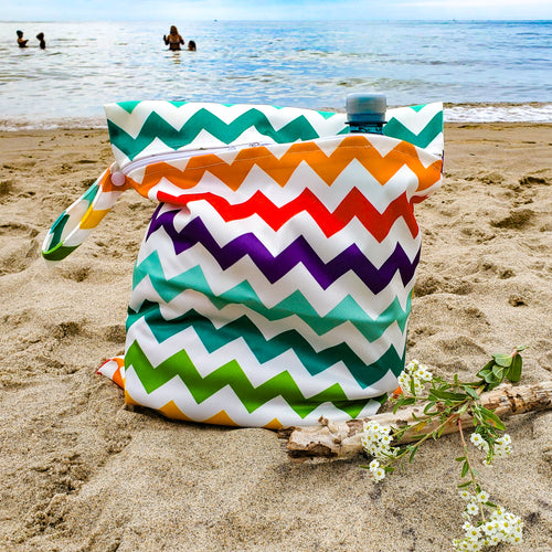 Rainbow Water-Resistant Bikini Bag (& 2 FREE Scrunchies!)