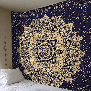 Navy & Ivory (2-Tone) Tapestry - Large Wall Lotus Mandala Tapestry