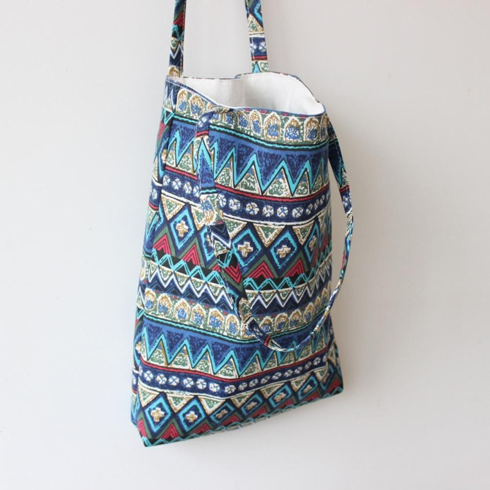 Aqua Aztec Small Reusable Tote