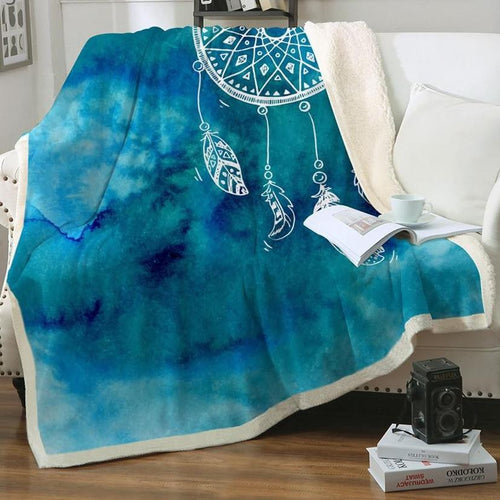 Aqua Watercolor Dreamcatcher Fleece Blanket
