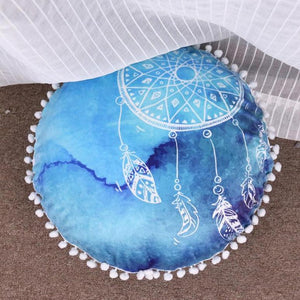 Aqua Watercolor Dreamcatcher Floor Cushion Cover