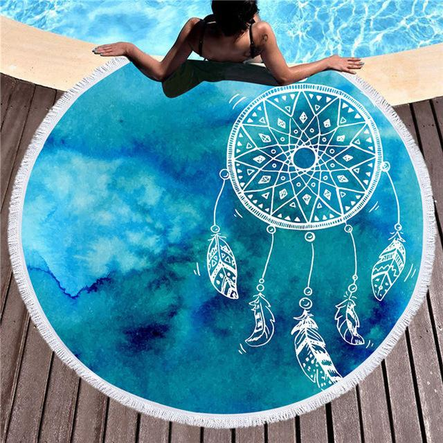 Aqua Watercolor Dreamcatcher Roundie Beach Towel