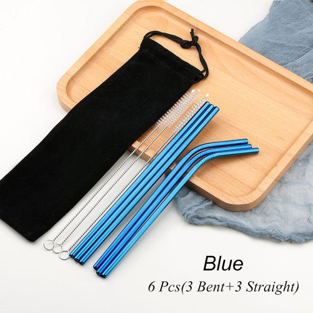 Blue Reusable Drinking Straw Set