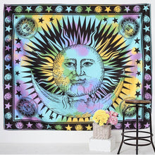 Load image into Gallery viewer, Sun and Moon Tapestry - Large Wall Lotus Mandala Tapestry